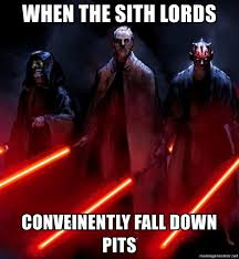 Darth Maul Meme - when the sith lords conveinently fall down pits dooku palpatine