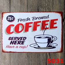 signs and decor plaque metal tin signs vintage decorative coffee plates cafe menu