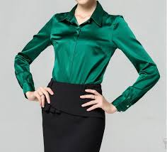 green womens blouse best quality s xxxl fashion silk satin blouse button