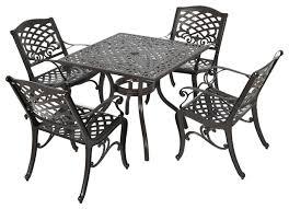 odena outdoor cast aluminum square bronze dining 5 piece set