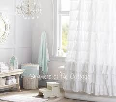Gray Ruffle Shower Curtain Shabby Snow White Ruffled Shower Curtain Cottage Chic