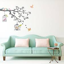 decowall dw 1510 birds on tree branch with bird cages