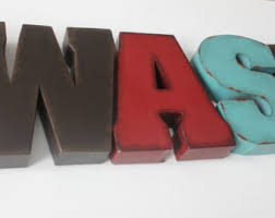 wash metal letters etsy