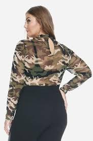 Plus Size Bodysuit Blouse Plus Size Dance Camo Mesh Bodysuit Fashion To Figure