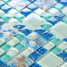 Online Shop Beach Style Sea Blue Glass Tile Mother Of Pearl Resin - Sea glass backsplash