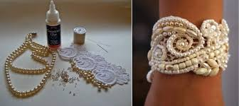 pearl lace pearl and bead lace bracelet cuff