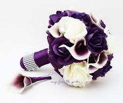 purple lilies purple white roses picasso calla lilies bridal bouquet boutonniere