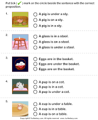 sentence with the correct preposition for picture worksheet