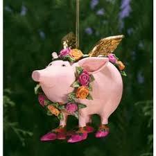 patience brewster tinkerbelle flying pig ornament новогодние