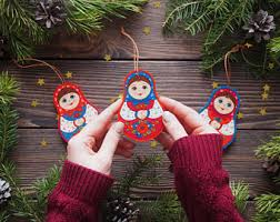 wooden ornaments handpainted russian folk toys