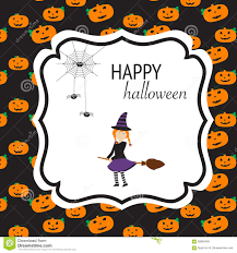 cute spooky background happy halloween background with cute little witch vector illus