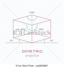 frame object in axonometric perspective dimetric grid vector