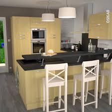cuisine implantation cuisine bois massif décor bouleau implantation moderne et ouverte