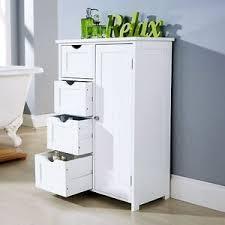 bathroom cabinet unit storage white wood cupboard free standing 4