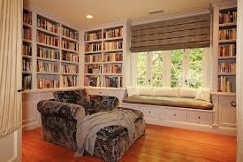 Bookshelf Seat Traditional Library With Crown Molding By Michelle Workman