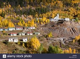 simple houses small mining town in rocky mountains of colorado with simple