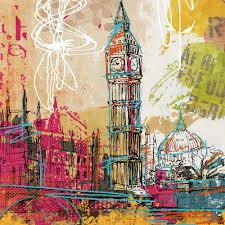 2 panel london eye big ben british construction sketch canvas art
