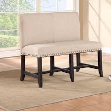 ivory fabric dining banquette with nailheads trim liner
