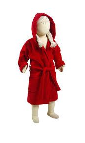 Full Length Bathrobe Hooded Kids Bathrobe Red