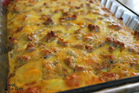 egg strata casserole sausage egg and biscuit breakfast casserole food fun friday