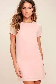 pink dress chic blush pink dress shift dress sleeve dress 48 00
