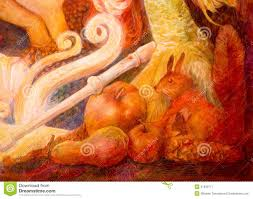 autumn fairy tale scene beautiful fantasy colorful painting stock
