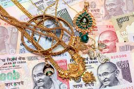 gold ornaments and indian currency stock photo image 34716476