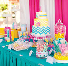 themed dessert table candy coated chevron polka dot birthday party hostess