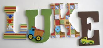 custom decorated wooden letters construction theme nursery