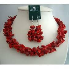 red necklace set images Simulated semi precious coral nuggets beads funky jewelry necklace set jpg