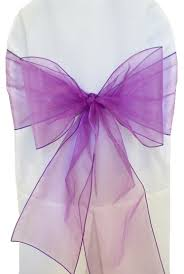 Purple Chair Sashes Purple Organza Chair Sashes Bows Ties Wholesale