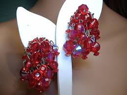 Costume Chandelier Earrings Vintage Costume Earrings Signed Hobe Aurora Borealis Red Crystal