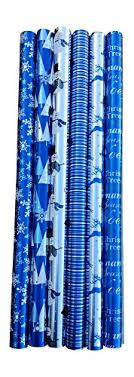 blue and silver themed foil gift wrapping paper bundle