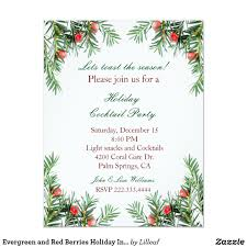 christmas cocktail party invitations evergreen and red berries holiday invitation holiday invitations