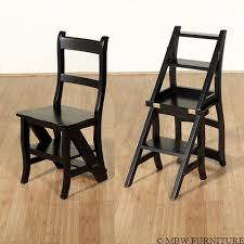 cherry convertible ladder chair library step stool