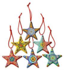 novica painted multi color ceramic ornaments