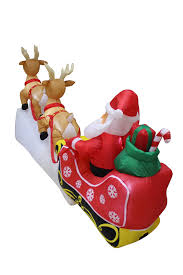 Lighted Sleigh And Reindeer by Amazon Com 8 Foot Long Lighted Christmas Inflatable Santa Claus