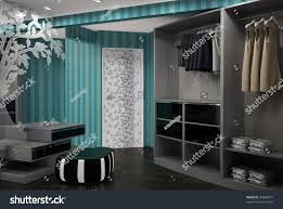 3d render dressing room interior design stock illustration