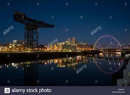finnieston crane and clyde arc bridge at night glasgow scotland