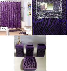 Bathroom Accessory Sets With Shower Curtain by Amazon Com Complete Bath Accessory Set Black Purple Zebra Animal