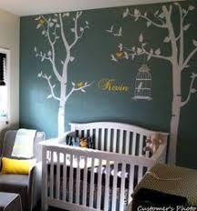stickers chambre d enfant stickers arbre gris jaune blanc hibou chouette oiseaux feuilles