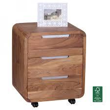 Schreibtisch Rollcontainer Finebuy Rollcontainer Akazie Massivholz Design Schubladenschrank