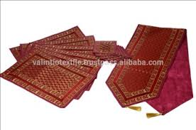 gold table runner and placemats silk placemats and coaster in red color indian silk table runner