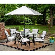 Patio Dining Set With Umbrella Hanover Lavallette 7 Outdoor Dining Set With Table Umbrella