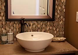 mosaic home decor powder room bathroom with full height glass mosaic tile backsplash