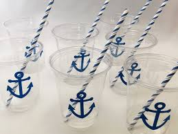 anchor theme baby shower nautical party cups nautical wedding anchor cups nautical