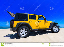 jeep beach yellow jeep on the beach stock photo image of peaceful 20700160