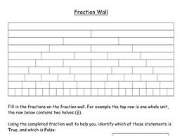 fraction wall and equivalent fractions worksheet by mattlamb