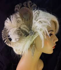 great gatsby hair accessories peacock hair clip bridal fascinator wedding headpiece feather
