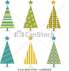 clipart vector of funky retro christmas tree design in six shape